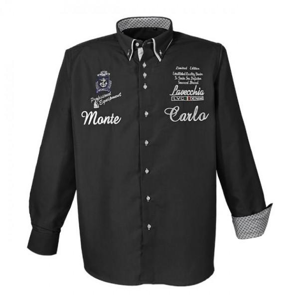 Schwarzes Hemd mit Stickerei - Manschetten innen gemustert