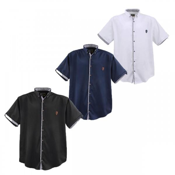 Übergrößen Hemd, halbarm mit karierter Paspel