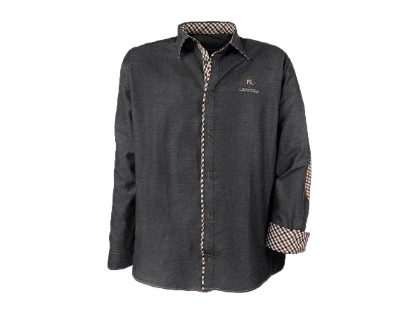Übergrößen Hemd in grau mit Ellbogenpatches - Manschetten innen kariert