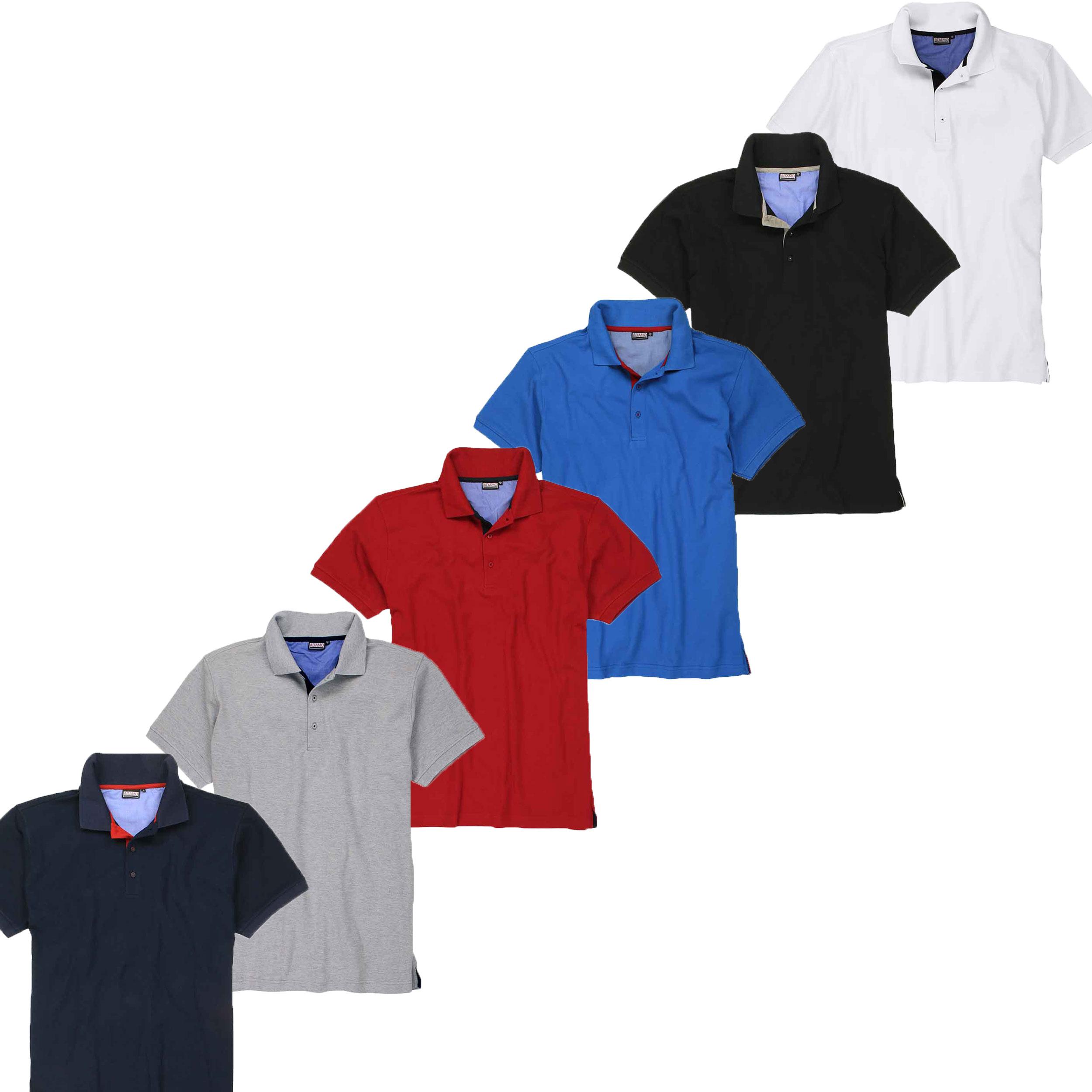 Übergrößen Designer Basic Polo-Shirt AHORN SPORTSWEAR 14 Farben