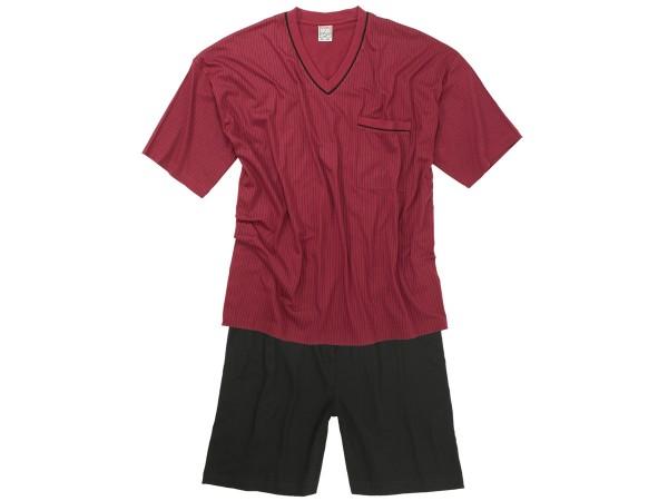 Übergrößen Schlafanzug, kurz, weinrot
