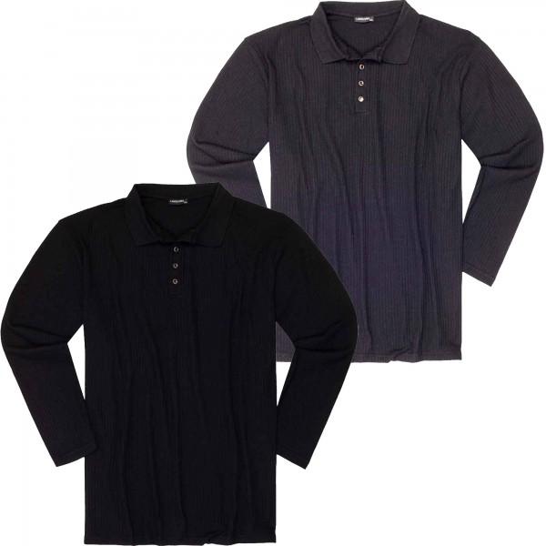 Übergrößen Polo-Shirt in Strickoptik