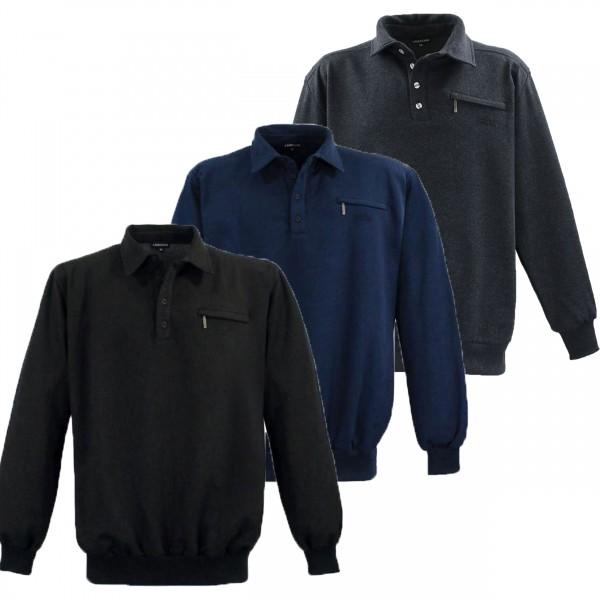 Übergrößen Sweat-Shirt von Lavecchia mit Polokragen